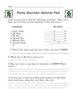 Rocky Mountain National Park Map Activity