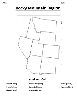 Rocky Mountain Region Mapping Worksheet with Word search