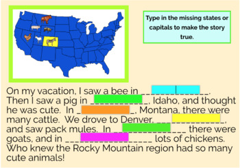 Rocky Mountain Region U.S. States and Capitals Boom Cards, Geography, Map Skills