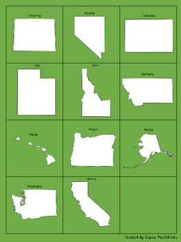 Rocky Mountain and Pacific States Memory Game