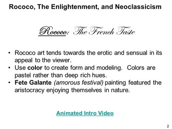 Rococo, Enlightenment, and NeoClassicism