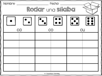 Rodar una sílaba - Spanish Syllable Practice for Bilingual Kinders and Firsties