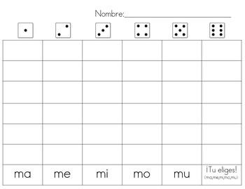 Rodar y escribir palabras de alta frecuencia (roll and write)