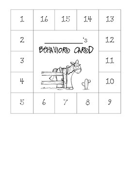 Western Themed Behavior Card