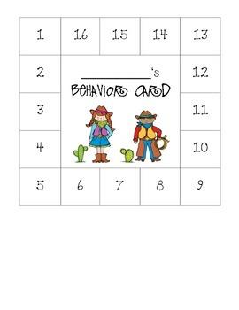Western Themed Behavior Card