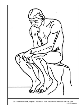 Rodin, Auguste. The Thinker.  Coloring page and lesson plan ideas