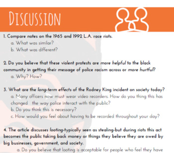 Black History L.A. Riots/Rodney King  (part of Multicultural Curriculum Series)