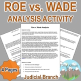Roe vs. Wade Analysis (Judicial Branch / Criminal Law) Civics / Government