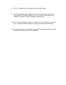 Roe vs. Wade Analysis (Judicial Branch / Criminal Law) Civics / Government