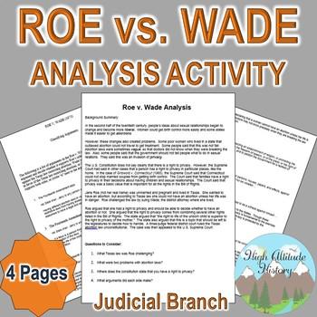 Roe vs. Wade Analysis (Judicial Branch / Criminal Law) Civ