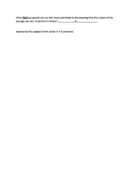 Roger Williams Biography Article and Assignment Worksheet
