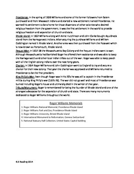 Roger Williams - Founder Rhode Island - Article Questions Activities Lesson