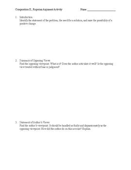 Rogerian Argument Worksheets & Teaching Resources | TpT