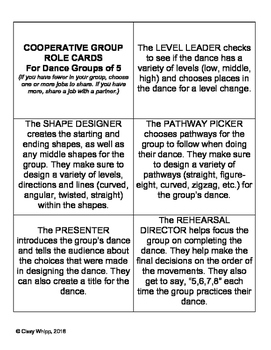 Role Cards for Working in Cooperative Groups