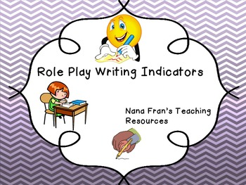 Role Play Writing Indicators For Pre-K and K
