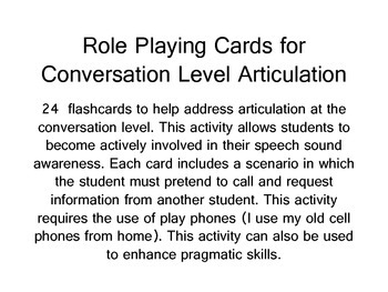 Role Playing Cards for Articulation at the Conversation Level