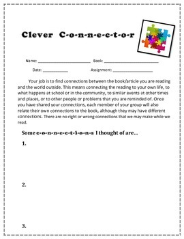 Role Sheets for Literature Circles