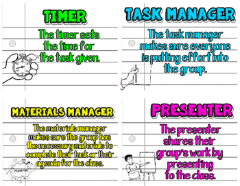 Role Task Cards - Notebook Doodle - Cooperative Learning