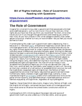 Role of Government Annotated reading with Question