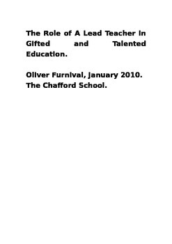 Role of a Gifted and Talented Coordinator