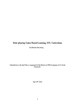 Role-playing Game Based Learning, EFL Curriculum