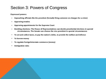 Roles and Powers of Congress