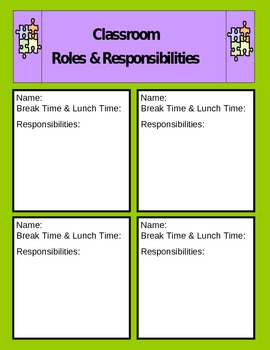Roles and Responsibilities Chart (Autism and Special Education)
