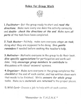 Roles for Group Work