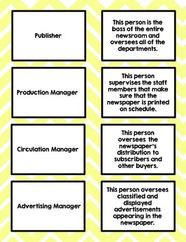 Roles in the Newsroom Journalism Game