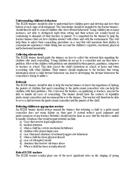 Roles of Early Childhood Education Trainers, Teachers and Parents in Guidance an