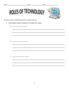 Roles of Technology in Health Care Worksheet