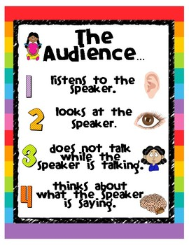 Roles of a Speaker and Listener (Audience) - 2 Posters with Visuals