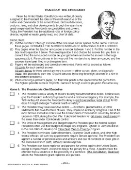 Roles of the President, AMERICAN GOVERNMENT LESSON 49 of 105, Exciting Game+Quiz