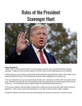 Roles of the President Scavenger Hunt