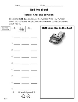 Roll 3 dice, Before and After Numbers Activity