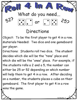 Roll 4 In A Row ~ Place Value