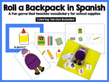 Roll A Backpack {School Supplies} - Spanish