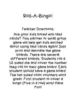 Roll-A-Bingo! A Task Card Game