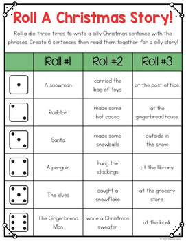 Roll A Christmas Story - Free Writing Activity