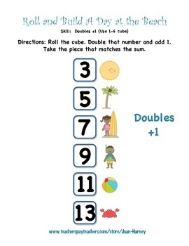 Roll A Day at the Beach: 16 Games for Number Recognition and Addition Strategies