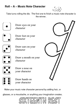 Roll A Die Music Note Character