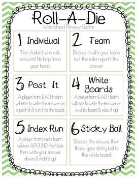 Roll A Die Worksheet Game