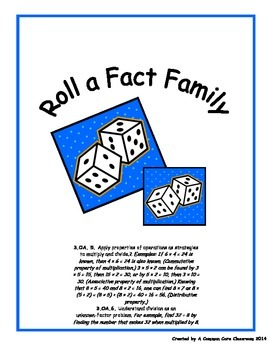 Roll A Fact Family - Multiplication and Division