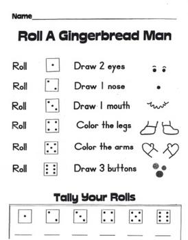 Roll-A-Gingerbread Math Game