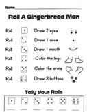 Roll-A-Gingerbread Math Game