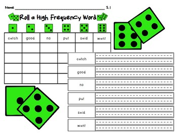 Roll A High Frequency Word - Unit 2