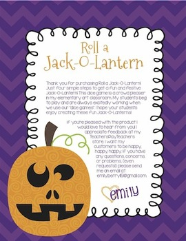 Roll A Jack-O-Lantern Halloween Dice Game