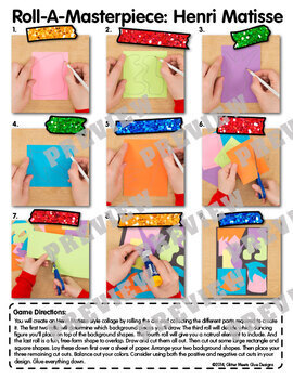 Art Lesson: Henri Matisse Art History Game {Art Sub Plans for Collage Project}