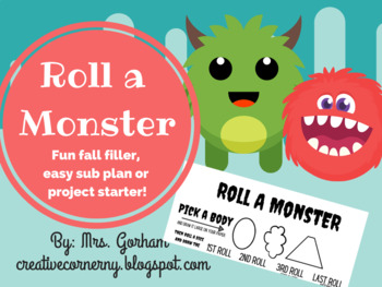 Roll A Monster- Fall Filler or Sub Plan