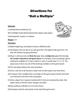 Roll A Multiple (Basic Multiplication Fact Game)
